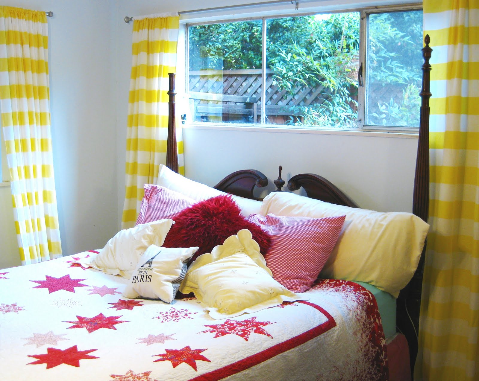 yellow-and-white-striped-curtains-bed-room