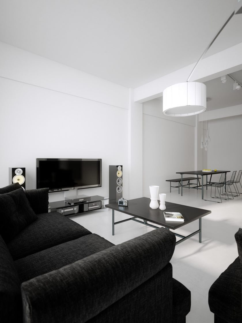 black-white-living-room-diner