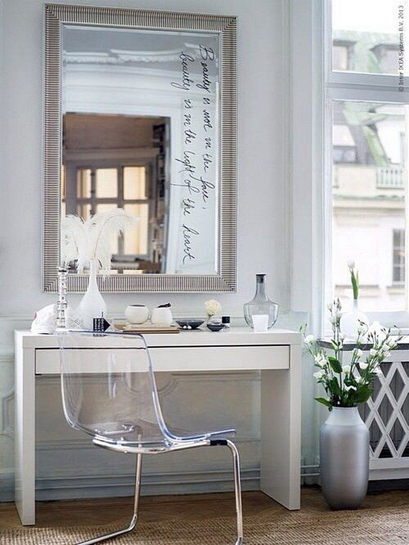 ikea-micke-desk-as-makeup-vanity-with-large-mirror-and-transparent-chair