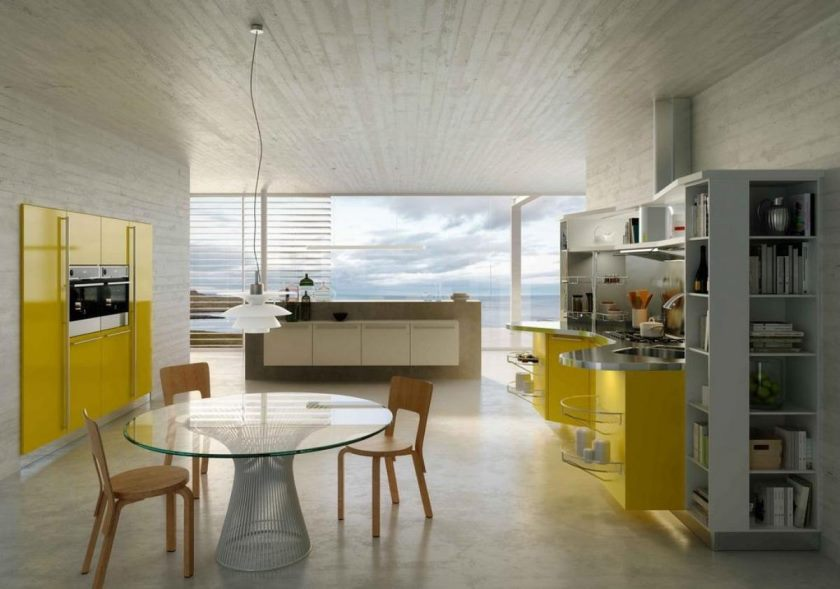 sensational-bright-yellow-modern-kitchen-with-transparent-table-glass-and-chair-with-hanging-lamp-also-the-transparent-window-for-outdoor-view