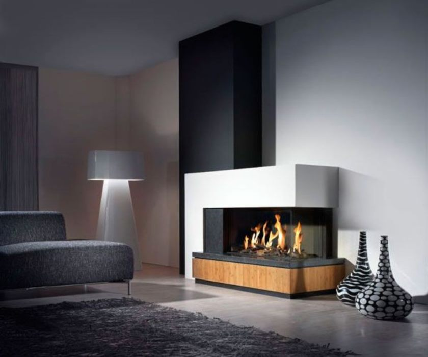 grey-couch-plus-cool-white-floor-lamp-combined-with-contemporary-fireplace-also-twin-floor-vases
