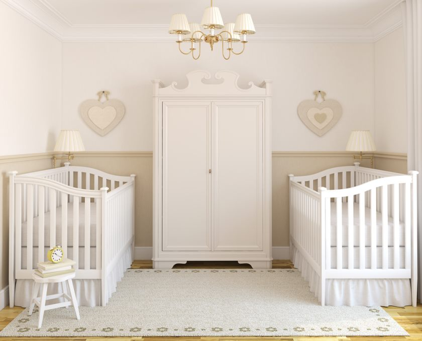 Interior of cozy nursery for twins. Frontal view. 3d render.