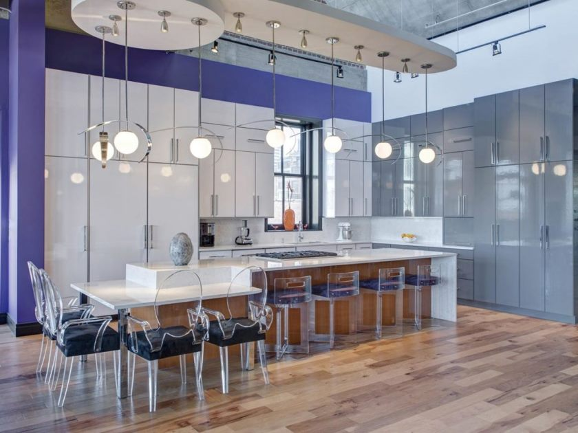 magnificent-kitchen-design-inspiration-white-grey-high-gloss-kitchen-cabinets-high-tall-kitchen-cabinets-stylish-pendant-lamps-transparent-bar-stools-black-bar-stools-seat-laminate-wooden-gloss-floori