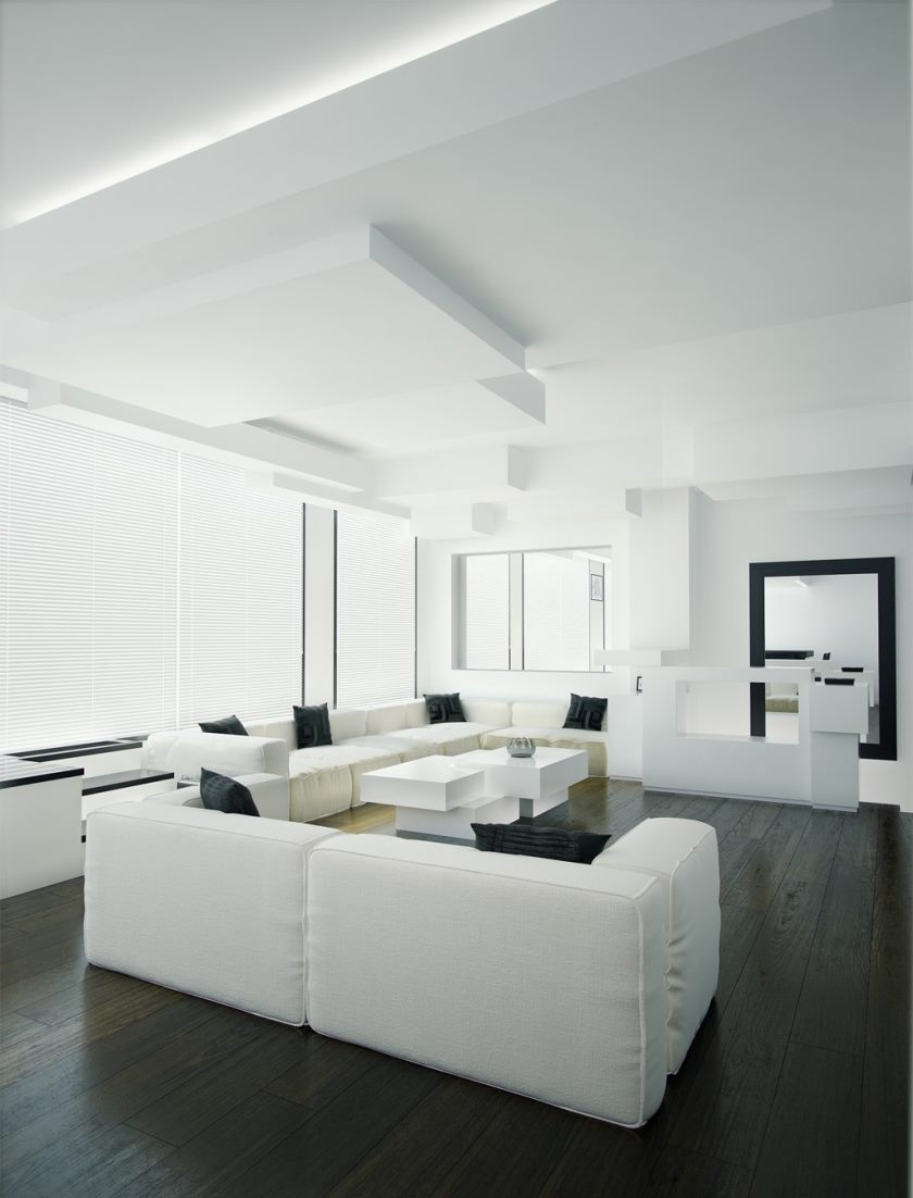 white-and-black-living-room