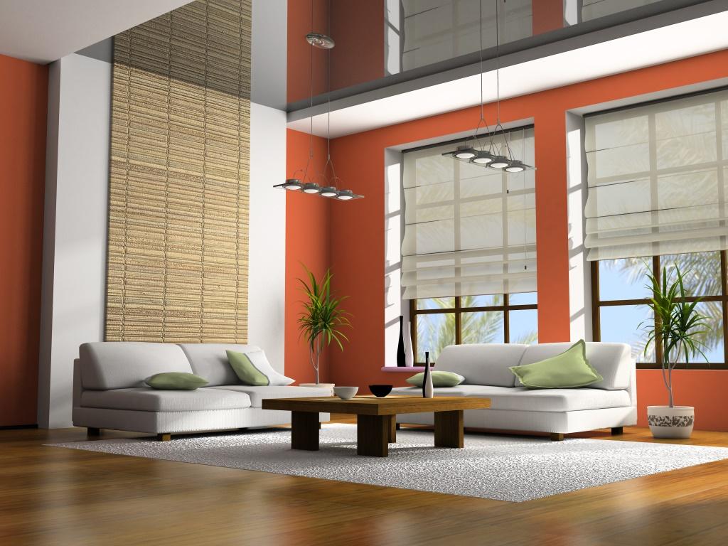 Masa ve kanepeler 3d render ile ev iç