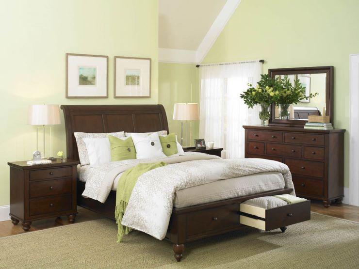 спальня в зеленом цвете дизайн фото 6