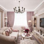 гостиная в розовых тонах