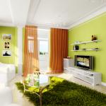 гостиная в светло-зеленых тонах