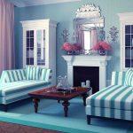 гостиная в светло-голубых тонах
